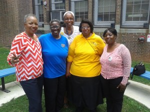 Dr. Brenda Sewell, New Solid Rock Fellowship Church (NSRFC); Sis. Phyllis Wonson, Arlington EMS; Rev. Terrye Moore, NSRFC; Pastor Cherring Spence, Virginia Avenue Prayer Group/Neighborhoods United; and Sis. Jeanetta Witherspoon, Arlington EMS.