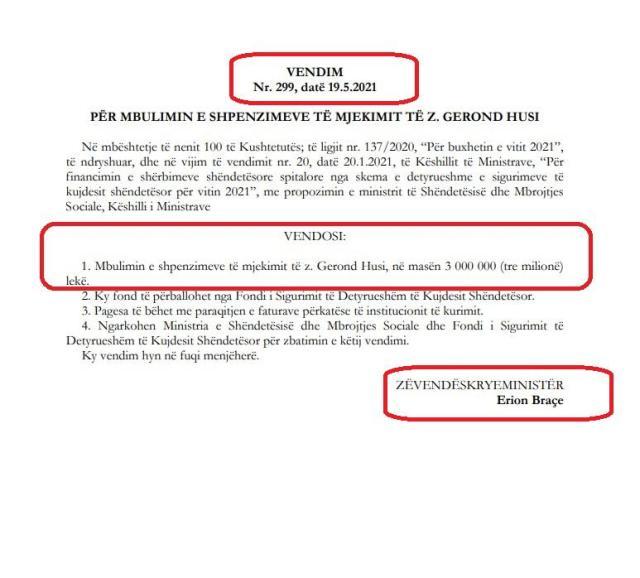 Në foto: Vendimi i Qeverisë për mbulimin e shpenzimeve të kurimit për mjekun e ndjerë, Gerond Husi