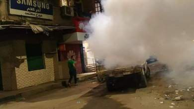 Photo of منوف البدء في أعمال رش شوارع المدينة بجهاز الضباب
