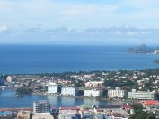 View of Castries harbor and the 5 biggest buildings on the island.