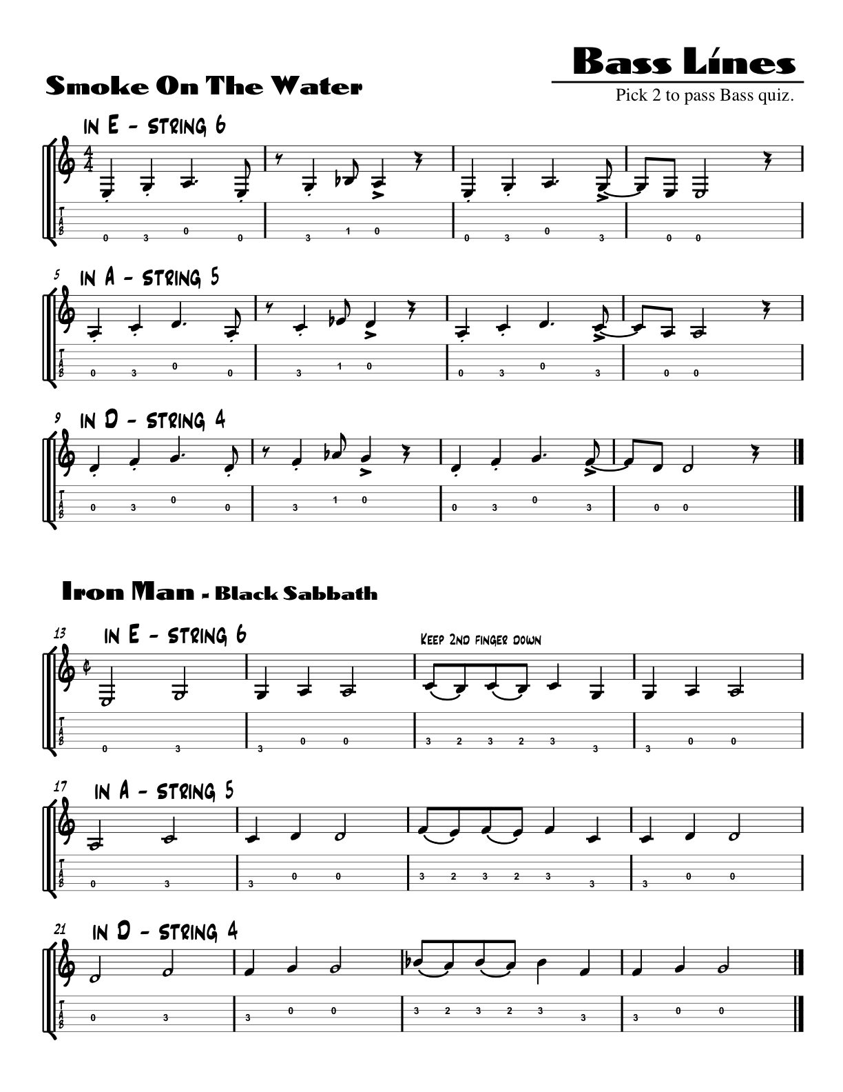 Guitar Worksheets
