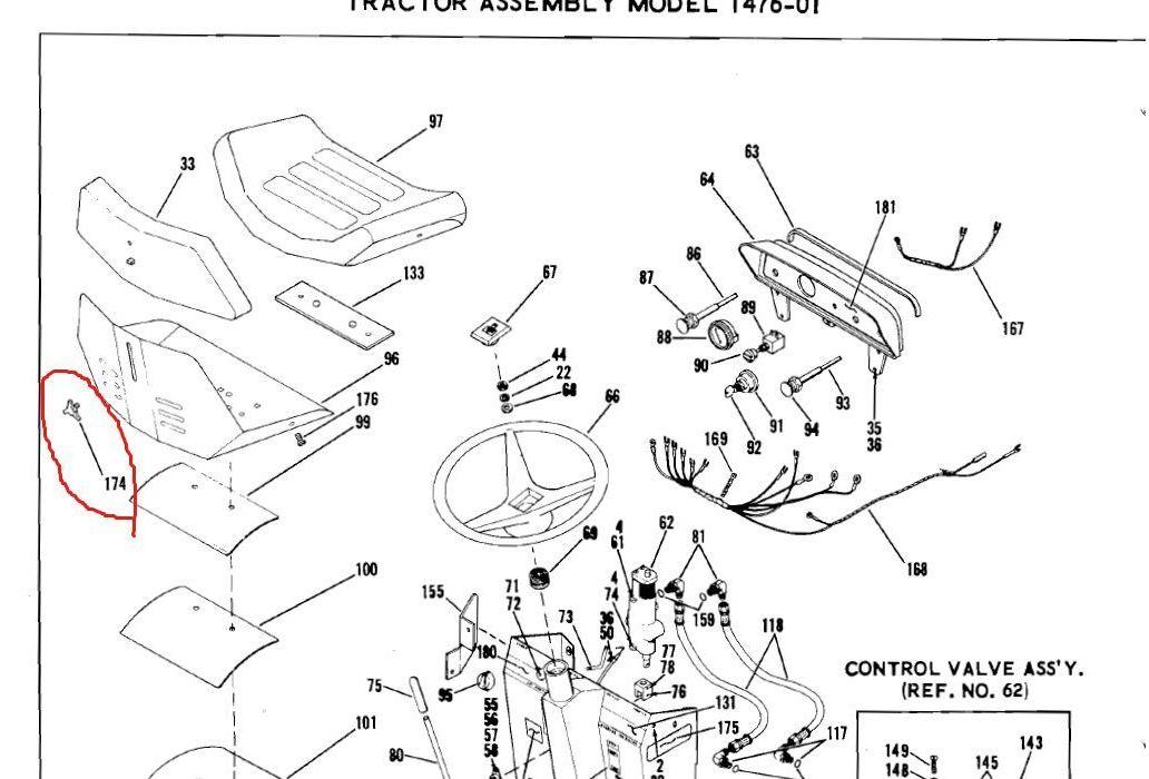 Bolens Parts :: Bolens 1721883 Seat Knob Fits Bolens 1053