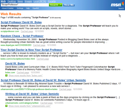 Script Professor Search Return for MSN