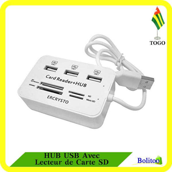HUB USB Avec Lecteur de Carte SD