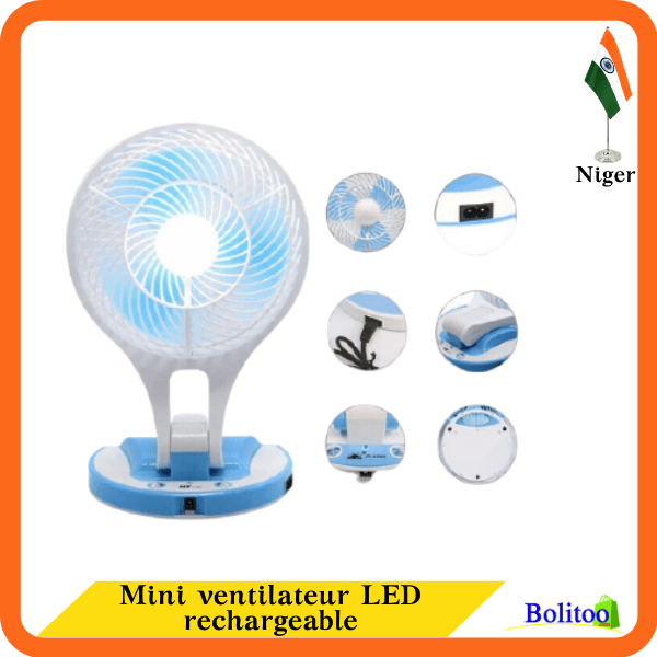 Mini ventilateur LED rechargeable