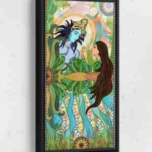 Rani Amazed by Krishna Long Vertical Matte Framed Canvas Wall Art