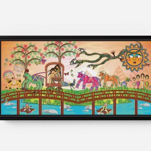 Rani Attacked by a Snake Long Horizontal Matte Framed Canvas Wall Art