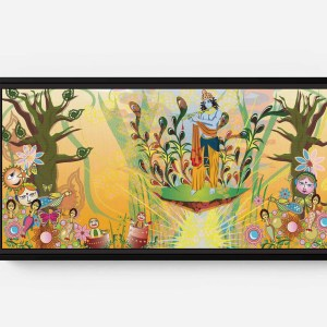 Krishna Descended on Them in the Forest Long Horizontal Matte Framed Canvas Wall Art