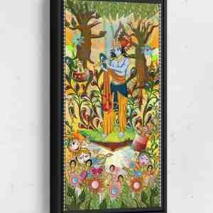 Krishna Visiting Forest Long Vertical Matte Framed Canvas Wall Art