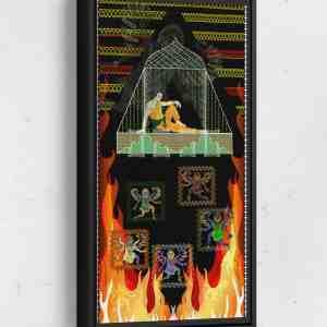Prince Demon Window Long Vertical Matte Framed Canvas Wall Art