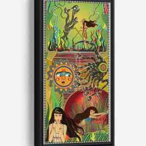 Serpent Chase Long Vertical Matte Framed Canvas Wall Art