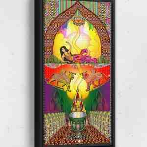 Sheena Palace Scene Long Vertical Matte Framed Canvas Wall Art