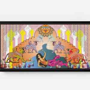 Sheena Sun Bathing Long Horizontal Matte Framed Canvas Wall Art