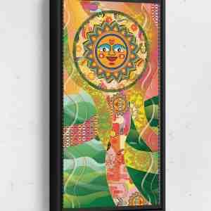 Sun Long Vertical Matte Framed Canvas Wall Art