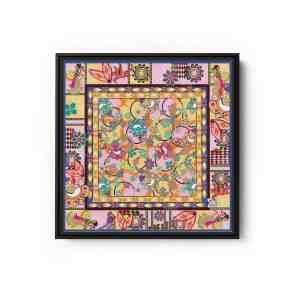 Ganesh Print Blue and Pink Square Canvas Wall Art