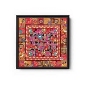 Ganesh with Lotus Flower Square Canvas Wall Art