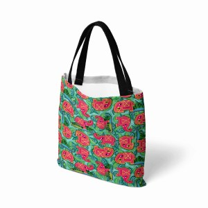 Pink Elephant on Blue Leaves Canvas Tote Bag