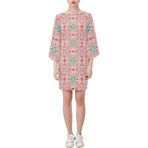 Lotus Flower Geo Pink and Teal Bell Sleeve Dress