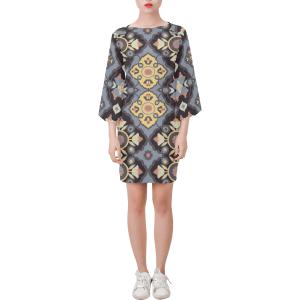 Flower Opal Cross Black Bell Sleeve Dress
