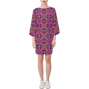 Lotus Flower Geo Purple Bell Sleeve Dress