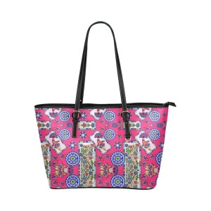 Fish Frame Coral Pattern Leather Tote Bag