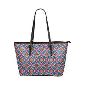 Floral Damask Leather Tote Bag