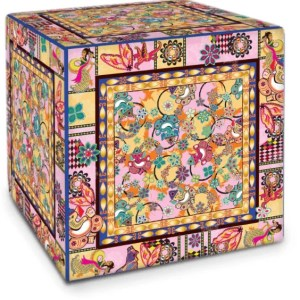 Ganesh Print Pink and Blue Cube