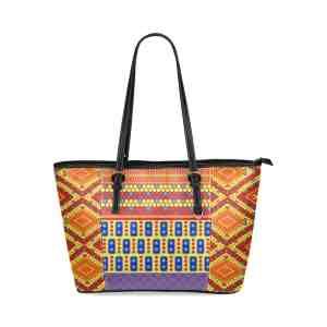 Indian Bubble Orange Squares Leather Tote Bag