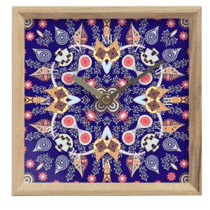 Paisley Pattern on Blue Mantle Clock