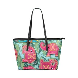 Pink Elephant on Blue Leaves Leather Tote Bag