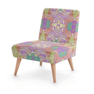 Purple Pastel Wire Henna Occasional Chair