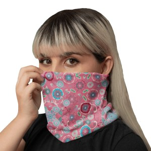 Emerald Snowflakes Red Neck Gaiter