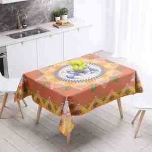 People on Orange Table Cloth