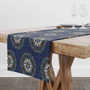 Blue Geo Border_Space Fish Table Runner