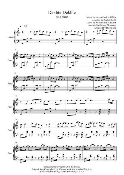 Dekhte Dekhte piano notes