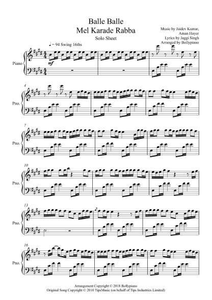 Balle Balle (Mel Karade Rabba) piano notes