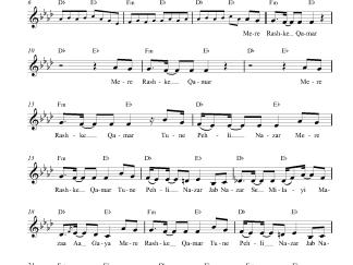 Mere Rashke Qamar (Remix) flute / violin notes