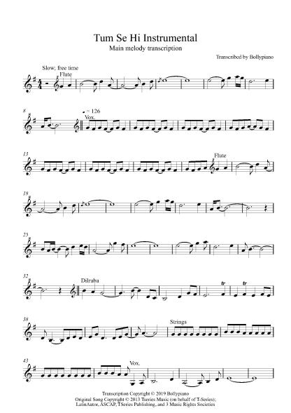 Tum Se Hi Instrumental flute / violin notes