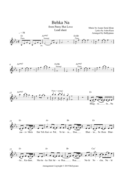 Bekha Na flute / violin notes