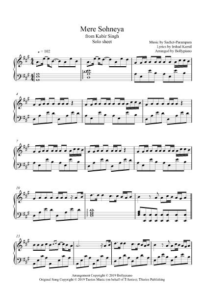 Mere Sohneya piano notes