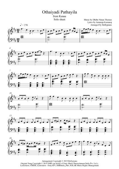 Othaiyadi Pathayila piano notes