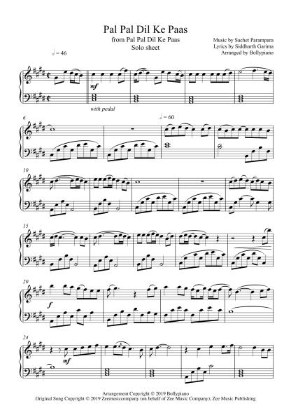 Pal Pal Dil Ke Paas piano notes