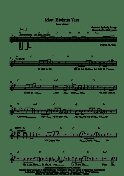 Mera Bichraa Yaar flute / violin notes