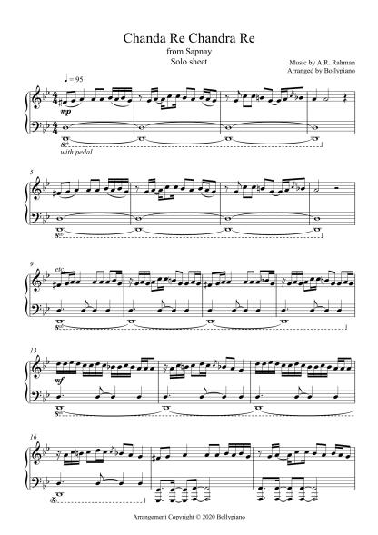 Chanda Re Chanda Re - Sapnay piano notes