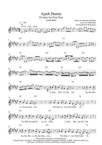 Ajeeb Dastan - DAAPP flute / violin notes
