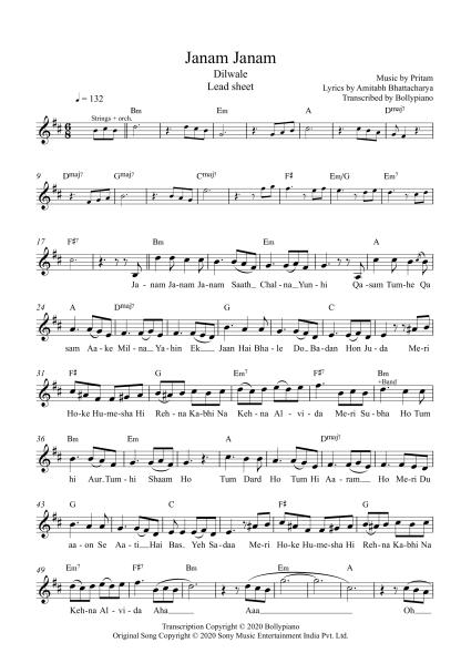 Janam Janam - Dilwale flute / violin notes