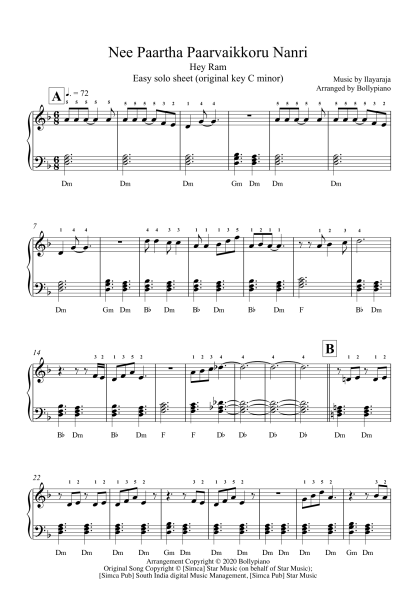 Nee Paartha Paarvaikkoru Nanri - Hey Ram Easy Piano Notes