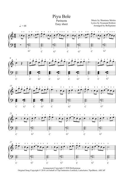 Piyu Bole - Parineeta Easy Piano Notes