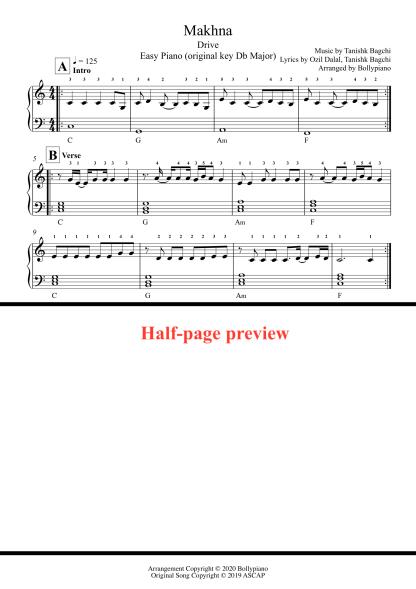 Makhna - Drive easy piano notes