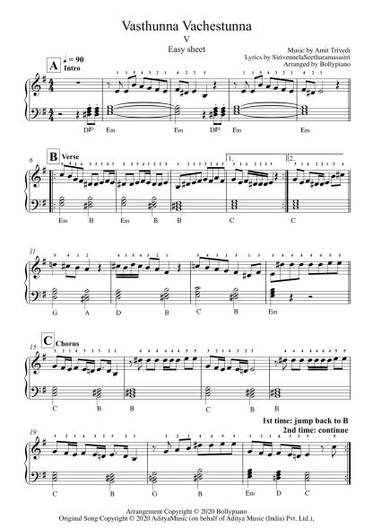 Vasthunna Vachestunna - V easy piano notes